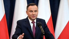 Poland's President Andrzej Duda delivers a statement on Wednesday in Warsaw, where he announced that he signed into law two controversial judicial reforms that opposition politicians and the EU insist they undermine the rule of law and the separation of p