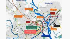 Bản đồ vị trí nghiên cứu kéo dài tuyến metro Bến Thành - Suối Tiên. Ảnh: BQL Đường sắt đô thị TPHCM