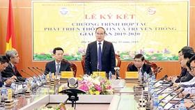 Bí thư Thành ủy TPHCM Nguyễn Thiện Nhân phát biểu tại lễ ký kết Chương trình hợp tác phát triển thông tin và truyền thông giai đoạn 2019 - 2020 giữa TPHCM và Bộ TT-TT. Ảnh: Đ.H.