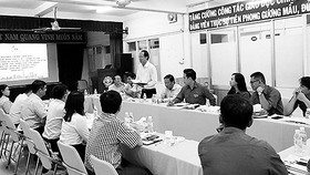 Phó Bí thư Thường trực Đảng ủy Sawaco Dương Hồng Đệ phát biểu tại buổi làm việc với Thành đoàn TPHCM