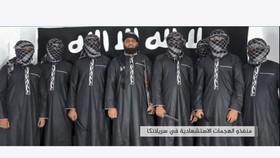 Hình ảnh từ video do trang tin Amaq của IS công bố về những kẻ đánh bom ở Sri Lanka, người ở giữa được cho là Zahran Hashim, thủ lĩnh vụ tấn công