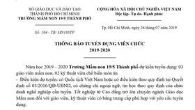 Trường Mầm non 19/5 Thành phố thông báo tuyển dụng viên chức 2019-2020