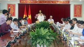 Đồng chí Phan Đình Trạc phát biểu tại buổi làm việc với Ban Thường vụ Tỉnh ủy Đồng Nai. Ảnh: Sỹ Tuyên/TTXVN