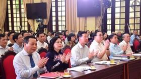 Các đại biểu dự hội nghị Hà Nội 50 năm thực hiện Di chúc của Chủ tịch Hồ Chí Minh và sơ kết 3 năm thực hiện Chỉ thị 05-CT/TƯ của Bộ Chính trị. Ảnh: VOV
