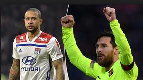 Memphis Depay (Lyon) và Lionel; Messi (Barcelona)