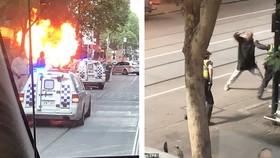 Thủ phạm tấn công bằng dao sau khi đốt xe hơi. Ảnh: EPA