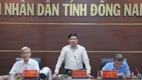 Bộ trưởng Bộ Giao thông Vận tải Nguyễn Văn Thể phát biểu tại buổi làm việc với UBND tỉnh Đồng Nai. (Ảnh: Sỹ Tuyên/TTXVN)