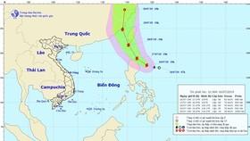 Chùm ảnh đường đi và vị trí cơn bão. Nguồn: TT Dự báo khí tượng thủy văn Quốc gia