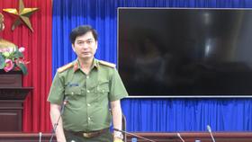Đại tá Trịnh Ngọc Quyên, Giám đốc Công an tỉnh Bình Dương cảm ơn các lực lượng đã tích cực điều tra, hỗ trợ phá vụ trọng án