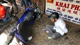 Đối tượng Thuận lúc bị bắt. Ảnh: ĐAN NGUYÊN