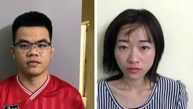 Vợ chồng Phước - Trang (từ trái qua phải) tại cơ quan công an.