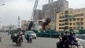 Công trường dự án xây dựng đường Vành đai 2 trên cao Hà Nội
