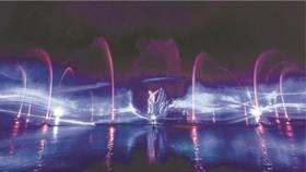 蓮潭絢麗水上視聽燈光秀。