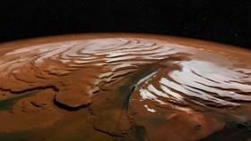 火星北極冰蓋立體圖像,垂直方向進行了拉伸處理,高差有誇大。