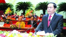 越南祖國陣線委員會 主席陳清敏在會議上致詞。