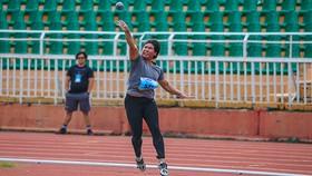VĐV Ka Hoa (Ninh Thuận) phá kỷ lục quốc gia Việt Nam môn ném tạ. Ảnh: Dũng Phương