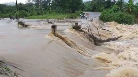 Mưa lớn, nước chảy xiết. Ảnh: TTXVN