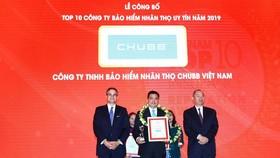 """Chubb Life Việt Nam - """"Top 10 doanh nghiệp BHNT uy tín năm 2019"""""""