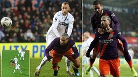 """Swansea - Man City 2-3: Silva ghi bàn, Nordfeldt """"tặng"""" quà, Aguero giúp Pep giành vé vào bán kết"""