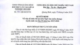 Quyết định tổ chức cho hơn 6.400 học sinh thi lại môn Ngữ Văn vào lớp 10 tại Quảng Bình