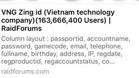 Thông tin VNG Zing ID bị lộ thông tin được đưa lên mạng