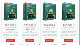 Giá bán chính thức của của các sản phẩm Kaspersky tại thị trường Việt Nam