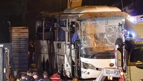 巴士爆炸現場。