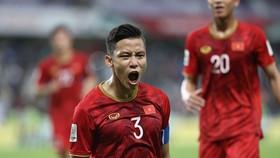 sự phấn khích của Quế Ngọc Hải sau bàn ấn định chiến thắng 2-0. Ảnh: MINH HOÀNG