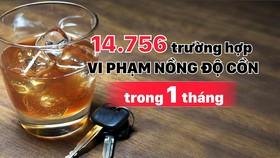 Tổng kiểm tra phương tiện giao thông trong 1 tháng: 14.756 trường hợp vi phạm nồng độ cồn