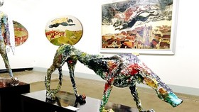 """A lacquer artwork, """"The King"""" in the exhibition"""