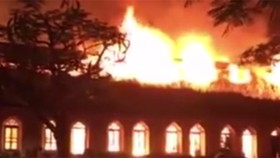 Fire destroys historic church in northern province