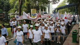 People walk to support AO victims (Source: VNA)