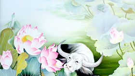 A painting of Lotus flower by artist Nguyen Thi Tam