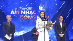 """Pop star My Tam wins titles, """"Singer of the Year"""" and """"Album of the year"""" at the Devotion Music Awards 2018. (Photo: Sggp)"""