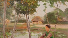 The painting ,Chieu buon (A blue evening) by Trinh Huu Ngoc is auctioned for a starting price of US$4,000.