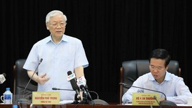CPVCC General Secretary Nguyen Phu Trong speaks at the working session (Source: VNA)