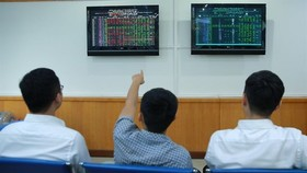 Investors follow stock movements at FPT Securities Company (FPTS) in Hanoi (Photo: VNA)
