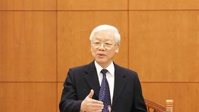 Party General Secretary and President Nguyen Phu Trong speaks at the meeting. (Photo: VNA)