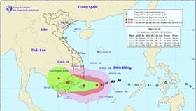 Đường đi và vị trí cơn bão. Ảnh: Trung tâm Dự báo khí tượng thủy văn quốc gia
