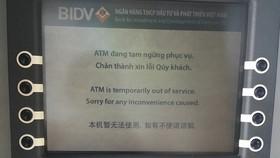 Nhiều máy ATM của BIDV không hoạt động