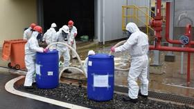 Diễn tập ứng phó sự cố rò rì hóa chất tại một doanh nghiệp