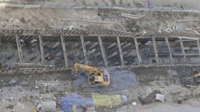 Công trình thi công cống thoát nước trên đường Cao Lỗ (quận 8, TPHCM) đang được triển khai    Ảnh: CAO THĂNG