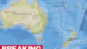 Trận động đất xảy ra tại vùng biển phía Nam New Zealand. Ảnh: USGS.