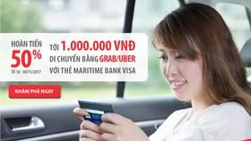 Hoàn tiền 50% khi đi Grab, Uber với thẻ Maritime Bank Visa
