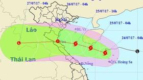 Vị trí và đường đi của bão số 4. Ảnh: TTDBKTTVTW