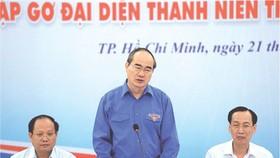 市委書記阮善仁向青年發表講話。