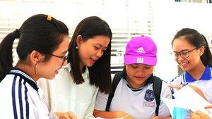 Students discuss over the last test (Photo: VNA)