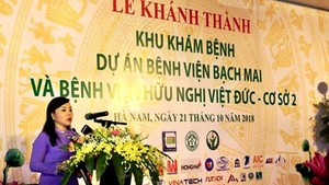 Health Minister Nguyen Thi Kim Tien speaks at the inauguration ceremony ( Photo: SGGP)