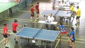 越南公務員工會運動會的乒乓球比賽。