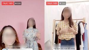 一名女模特兒直播推介服裝。